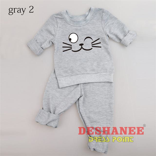 (Shop International) Baby Boys Girls Long Sleeve T-Shirt+Pant Suit - Gray Cat 2 / 3M - Clothing Sets 01 Yrs 02 Yrs 12M 18M 24M Free Shipping