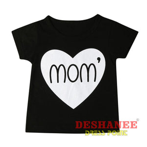 (Shop International) Baby Girl Short Sleeve Letter Print T-Shirt - Clothing Black T-Shirts Print T-Shirts Short Sleeve T-Shirts Free