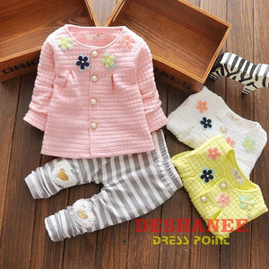 (Shop International) Baby Girl Suit - Pink / 10-12 Months - Clothing Autumn Cute Fashion O-Neck Sets Free Shipping Deshanee Dress Point