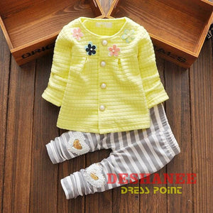 (Shop International) Baby Girl Suit - Yellow / 10-12 Months - Clothing Autumn Cute Fashion O-Neck Sets Free Shipping Deshanee Dress Point
