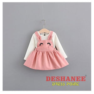 (Shop International) Baby Girls Fake Two Pieces Cute T-Shirt Dress - Clothing Dresses 01 Yrs 02 Yrs 12M 18M 24M Free Shipping Deshanee Dress