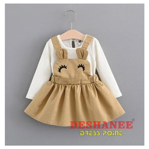 (Shop International) Baby Girls Fake Two Pieces Cute T-Shirt Dress - Khaki / 3M - Clothing Dresses 01 Yrs 02 Yrs 12M 18M 24M Free Shipping