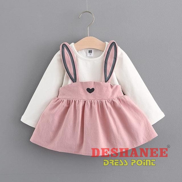 (Shop International) Baby Girls Fake Two Pieces Cute T-Shirt Dress - Pink / 3M - Clothing Dresses 01 Yrs 02 Yrs 12M 18M 24M Free Shipping