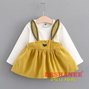 (Shop International) Baby Girls Fake Two Pieces Cute T-Shirt Dress - Yellow / 3M - Clothing Dresses 01 Yrs 02 Yrs 12M 18M 24M Free Shipping