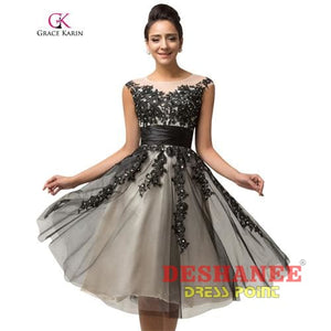 (Shop International) Beading Sequins Black Tulle Lace Evening Dress - 1 / 2 / China - Clothing Dresses 02 04 06 08 10 Free Shipping Deshanee