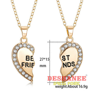 (Shop International) Best Friend Unisex Heart Pendant Necklace Set - Accessories Best Friends Chain Fashion Jewelry Gift Gold Free Shipping