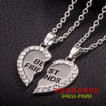 (Shop International) Best Friend Unisex Heart Pendant Necklace Set - Silver / One-Size - Accessories Best Friends Chain Fashion Jewelry Gift
