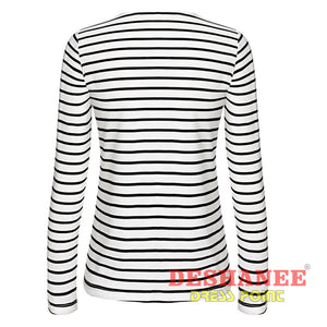 (Shop International) Black And White Stripe Long Sleeve Casual T-Shirt - Clothing Tops Beige Casual Cotton Fashion L Free Shipping Deshanee