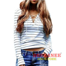 (Shop International) Black And White Stripe Long Sleeve Casual T-Shirt - Beige / L - Clothing Tops Beige Casual Cotton Fashion L Free