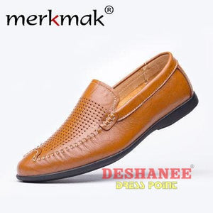 (Shop International) British Style Genuine Leather Driving Shoe - Brown Holes Shoes / 5.5 - Shoes 06 (Shoes) 07 (Shoes) 08 (Shoes) 10