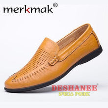 (Shop International) British Style Genuine Leather Driving Shoe - Yellow Holes Shoes / 5.5 - Shoes 06 (Shoes) 07 (Shoes) 08 (Shoes) 10