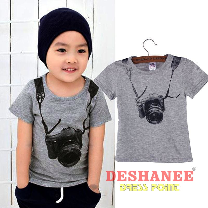 (Shop International) Camera Short Sleeve O-Neck T Shirt - Clothing Tops 04 05 2T 3T 4T Free Shipping Deshanee Dress Point