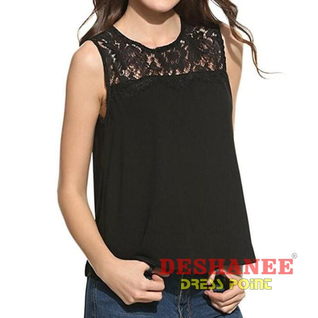 (Shop International) Chiffon Sleeveless Tank Top - Black / L - Clothing Lace Sleeveless Summer Tank Tops Free Shipping Deshanee Dress Point