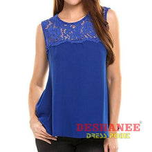 (Shop International) Chiffon Sleeveless Tank Top - Blue / L - Clothing Lace Sleeveless Summer Tank Tops Free Shipping Deshanee Dress Point
