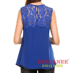 (Shop International) Chiffon Sleeveless Tank Top - Clothing Lace Sleeveless Summer Tank Tops Free Shipping Deshanee Dress Point