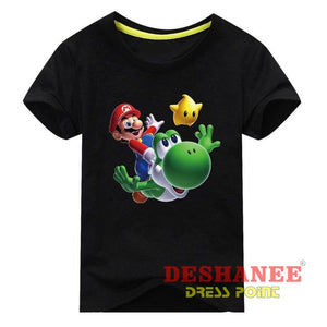 (Shop International) Children New Cartoon Printing Short Sleeves T-Shirt - Type1 Black / 3T - Clothing Tops 10T 11T 18M 24M 3T Free Shipping