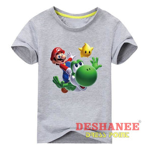 (Shop International) Children New Cartoon Printing Short Sleeves T-Shirt - Type1 Grey / 4T - Clothing Tops 10T 11T 18M 24M 3T Free Shipping