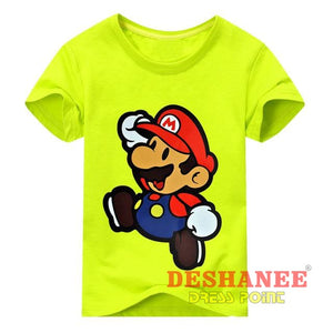(Shop International) Children New Cartoon Printing Short Sleeves T-Shirt - Type2 Light Green / 11T - Clothing Tops 10T 11T 18M 24M 3T Free