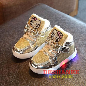 (Shop International) Childrens Casual Led Shoes - Gold / 11 - Shoes 07 07 (Shoes) 08 08 (Shoes) 09 Free Shipping Deshanee Dress Point