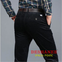 (Shop International) Corduroy Long Straight Business Casual Pant - Black / 29 - Clothing Bottoms 29 30 31 32 33 Free Shipping Deshanee Dress