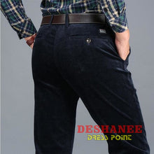 (Shop International) Corduroy Long Straight Business Casual Pant - Blue / 29 - Clothing Bottoms 29 30 31 32 33 Free Shipping Deshanee Dress