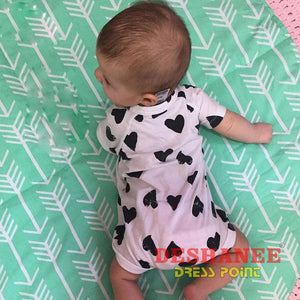 (Shop International) Cotton Heart Print Romper - Clothing Cotton Fashion Jumpsuit Jumpsuits O-Neck Free Shipping Deshanee Dress Point