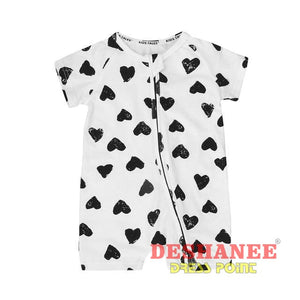 (Shop International) Cotton Heart Print Romper - White / 6M / China - Clothing Cotton Fashion Jumpsuit Jumpsuits O-Neck Free Shipping
