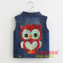 (Shop International) Cowboy Owl Applique Waistcoat - Blue / 2T - Clothing Appliques Autumn Cartoon Jackets Outerwear Free Shipping Deshanee