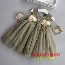 (Shop International) Cute Floral Half Sleeve Girls Dress - Army Green / 5 - Clothing Dresses 04 05 06 07 08 Free Shipping Deshanee Dress