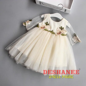 (Shop International) Cute Floral Half Sleeve Girls Dress - Beige / 5 - Clothing Dresses 04 05 06 07 08 Free Shipping Deshanee Dress Point