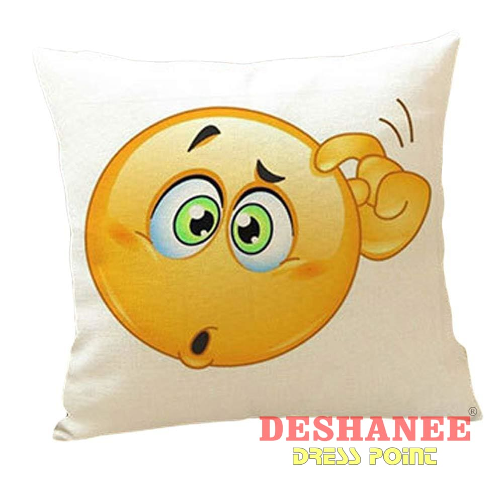 (Shop International) Cute Qq Expression Emoji Cushion Cover - Homeware Cushion Cushion Cover Home Homeware Pillow Free Shipping Deshanee