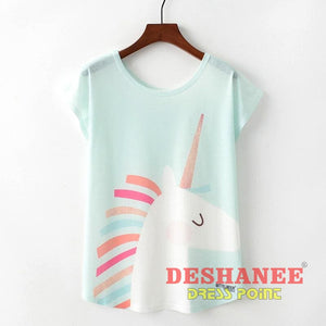 (Shop International) Cute Style Unicorn Print Short Sleeve Women T-Shirt - Clothing Tops Blouse Tops Blouses Casual Casual T-Shirts Cotton