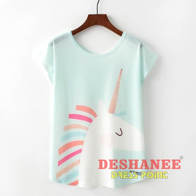 (Shop International) Cute Style Unicorn Print Short Sleeve Women T-Shirt - Tp1009 / L - Clothing Tops Blouse Tops Blouses Casual Casual