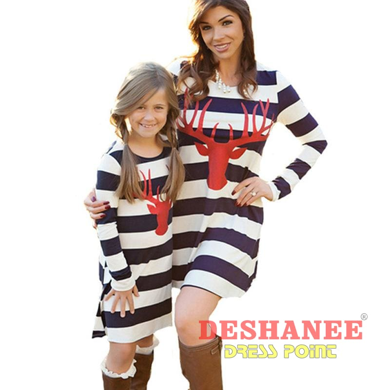 (Shop International) Deer Head Mother & Daughter Matching Striped Dresses - Beige / Mom S - Clothing Dresses 2T 3T 4T 5T 6T Free Shipping