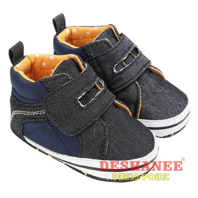 (Shop International) Denim Flat Boots Baby Sneakers Toddler Boys Shoes - Black / 2.5 / China - Shoes Canvas Denim First Walkers Flat Boots