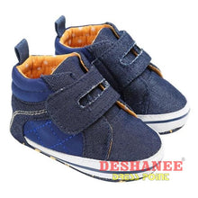 (Shop International) Denim Flat Boots Baby Sneakers Toddler Boys Shoes - Navy / 2.5 / China - Shoes Canvas Denim First Walkers Flat Boots