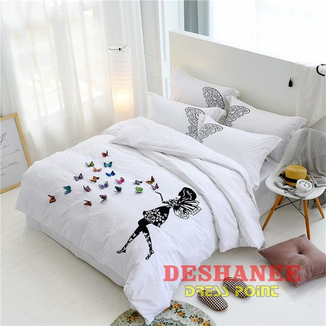 ... (Shop International) Egypt Cotton White Butterfly Embroidery Luxury  Bedding Set   1 / Queen ...