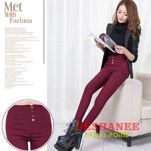 (Shop International) Elegant Womens Casual Slim Stretch Pencil Pant - Wine Red / S - Clothing Bottoms 2Xl 2Xl (Women) 3Xl 3Xl (Women)
