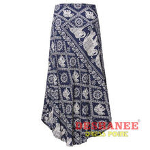 (Shop International) Floral Print Long Elegant Beach Maxi Skirt - Blue / S - Clothing Bottoms 2Xl 2Xl (Women) 3Xl 3Xl (Women) Beach Free
