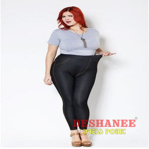 5d4995e51ef (Shop International) Plus Size Thin Black Denim Mid Waist Pocket Leggings -  Black