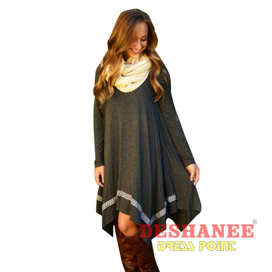 (Shop International) Poncho Handkerchief Dress - Clothing Casual Club Evening Fashion Long Sleeve Free Shipping Deshanee Dress Point