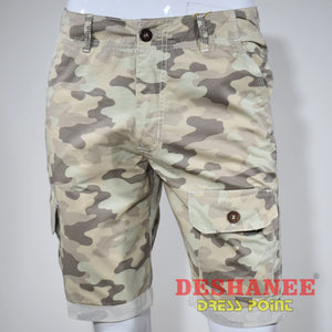 (Shop Sri Lanka) Camouflage Cargo Pockets Mens Short - 28 / Beige - Sri Lanka Clothing Bottoms 28 30 32 34 36 Free Shipping Deshanee Dress