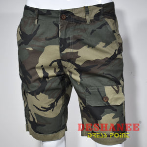 (Shop Sri Lanka) Camouflage Cargo Pockets Mens Short - 28 / Dark Green - Sri Lanka Clothing Bottoms 28 30 32 34 36 Free Shipping Deshanee