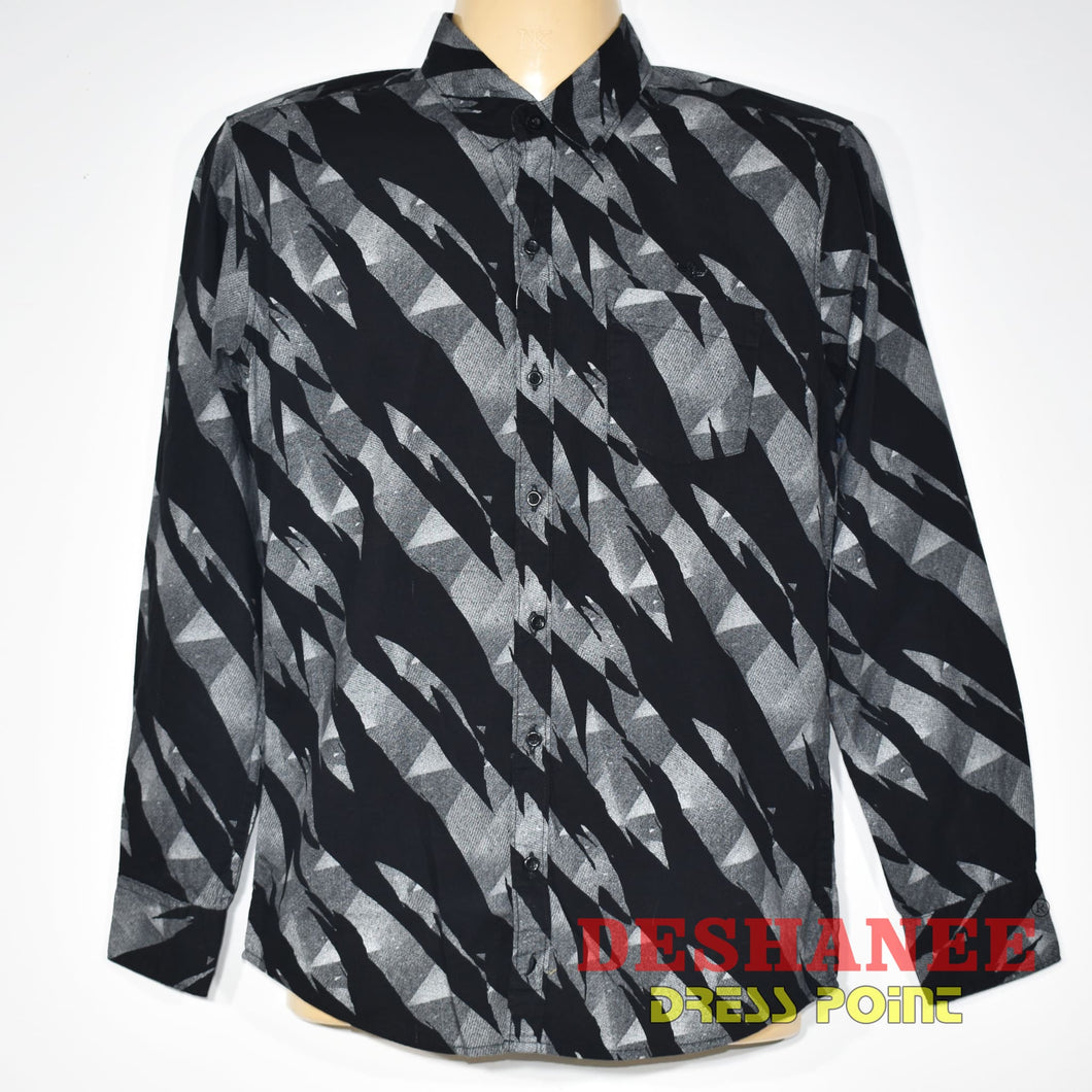 (Shop Sri Lanka) Dark Light Color Designed Mens Long Sleeve Shirt - S / Black - Sri Lanka Clothing Tops Black Blue Boys Casual Casual Shirts