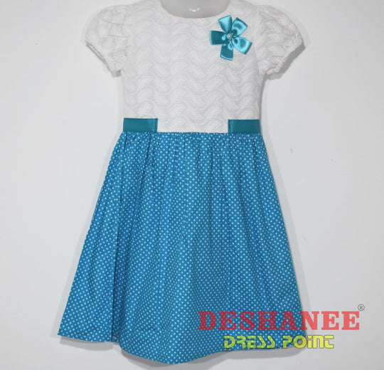 (Shop Sri Lanka) Flower Applique O-Neck Girls Dress - 4-5 Yrs / Blue - Sri Lanka Clothing Dresses 04 Yrs 05 Yrs 06 Yrs 07 Yrs 08 Yrs Free