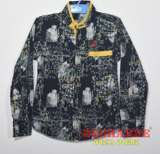 (Shop Sri Lanka) Long Sleeve Front Button Boys Shirt - M / As Per Sample - Sri Lanka Clothing Tops Black Boys Casual Front Button Kids Free