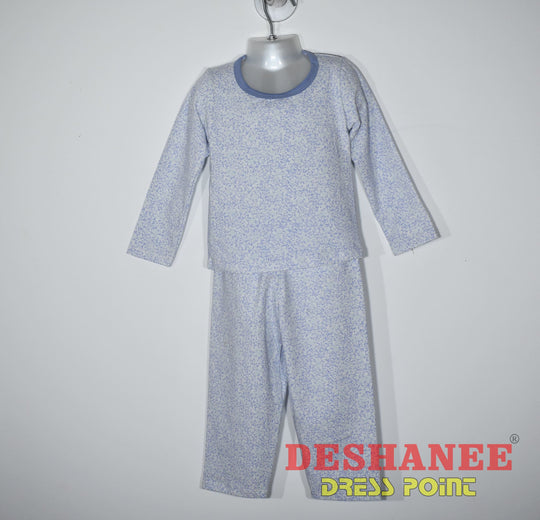 (Shop Sri Lanka) O-Neck Flower Printed Kids Pyjama - S / Light Blue - Sri Lanka Clothing Sets Blue Boys Boys Nightwear Boys Pyjama Flower