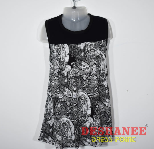 (Shop Sri Lanka) Patch Work Sleeveless Girls Printed Dress - S / As Per Sample - Sri Lanka Clothing A-Line Black Black & White Casual Casual