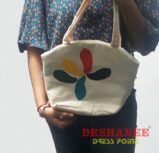 (Shop Sri Lanka) Raw Cloth Applique Tote Bag - Sri Lanka Bags Army Green Bags Beige Blue Firebrick Free Shipping Deshanee Dress Point