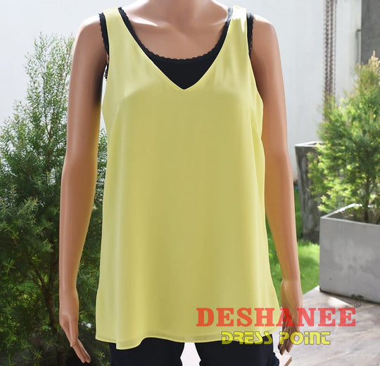 (Shop Sri Lanka) Solid Color V-Neck Georgette Vest - 06 / Yelow - Sri Lanka Clothing Tops 06 08 10 12 14 Free Shipping Deshanee Dress Point
